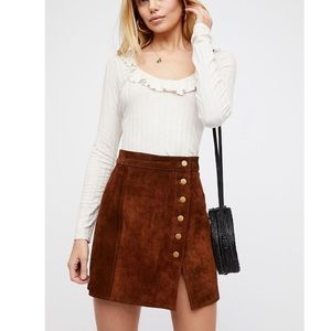 Free People Understated Leather Suede Skirt